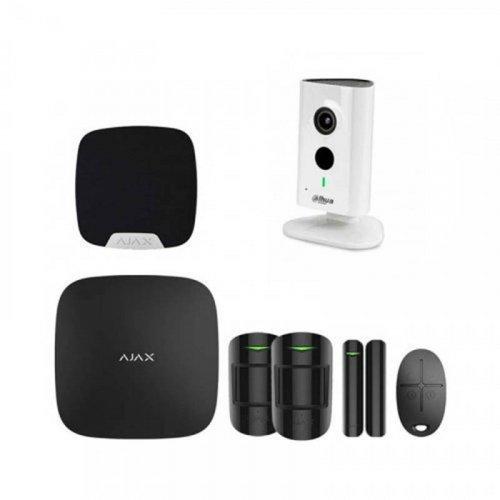 Комплект сигнализации Ajax для квартиры  черный + камера Dahua DH-IPC-C35P
