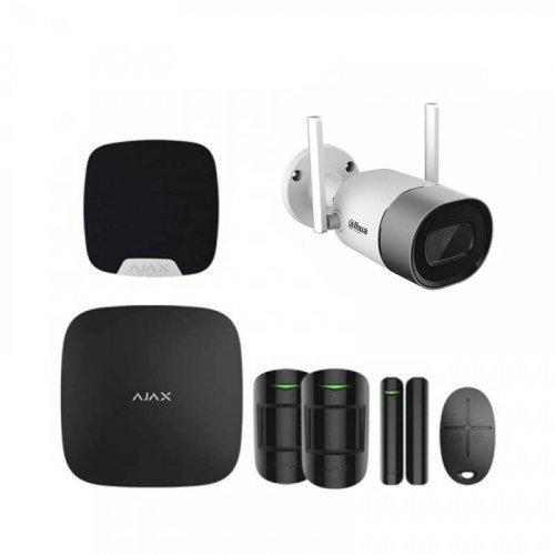 Комплект сигнализации Ajax для квартиры черный + камера Dahua DH-IPC-G26P