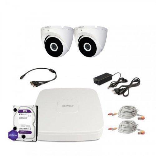 HDCVI комплект видеонаблюдения Dahua CVI-1M-2DOME-E-Lite-Full