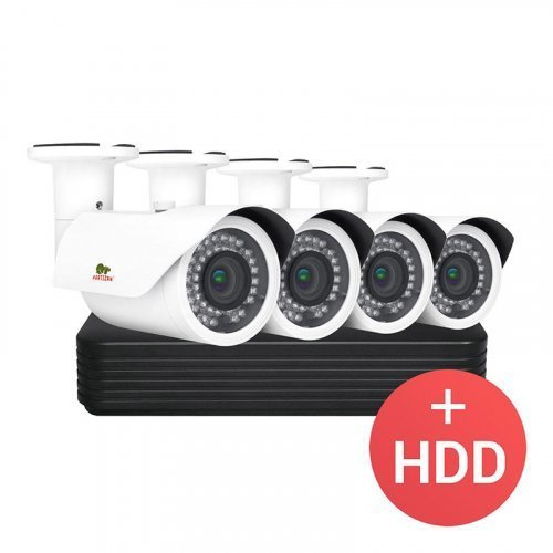 IP комплект видеонаблюдения Partizan PRO IP-15 4xCAM + 1xNVR + HDD