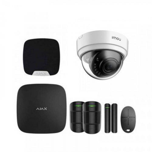 Комплект сигнализации Ajax для квартиры черный + камера IMOU Dome Lite (Dahua D22P)
