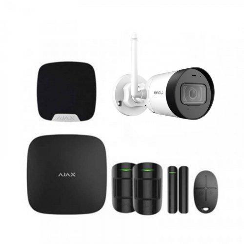 Комплект сигнализации Ajax для квартиры черный + камера IMOU Bullet Lite 4MP (G42P)
