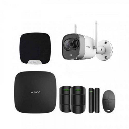 Комплект сигнализации Ajax для квартиры черный + камера IMOU New Bullet (Dahua G26EP)