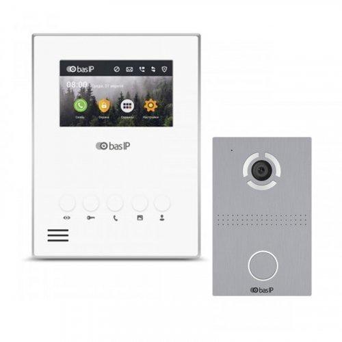 Комплект домофона BAS-IP AU-04LA White и BAS-IP AV-03D Silver