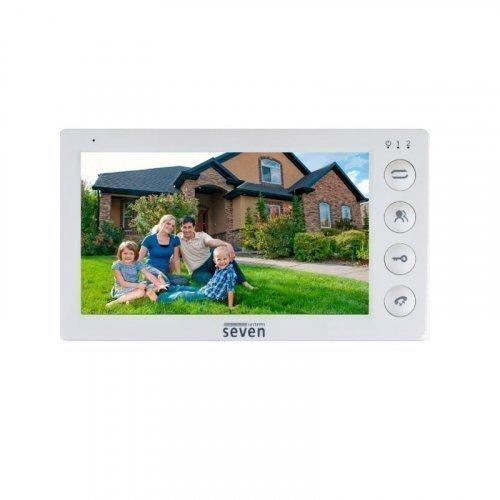 Видеодомофон с записью и механическими кнопками SEVEN DP–7574 white
