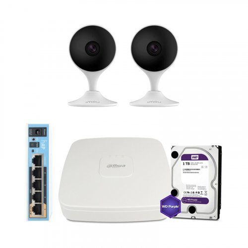 IP комплект видеонаблюдения Dahua WiFi-2M-2IN-HOME-C22EP-HDD