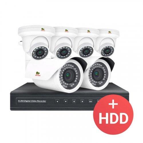 IP комплект видеонаблюдения Partizan PRO IP-10 6xCAM + 1xNVR + HDD