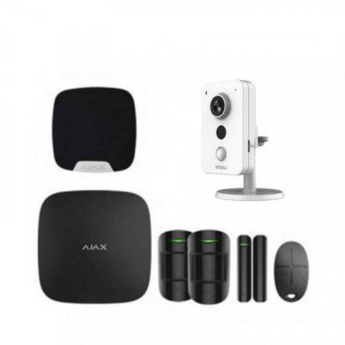 Комплект сигнализации Ajax для квартиры черный + камера IMOU IPC-K42AP