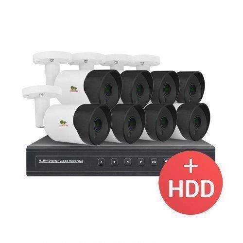 IP комплект видеонаблюдения IP-18 8xCAM + 1xNVR + HDD