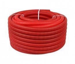 Красная морозостойкая усиленная гофра ПНД с протяжкой (100 м)