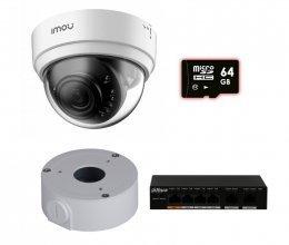 IP комплект видеонаблюдения для парадного с камерой IMOU Dome Lite (Dahua IPC-D22P) + монтаж