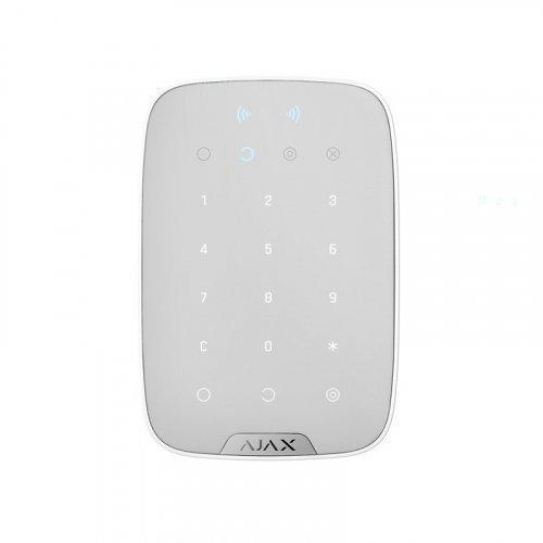 Беспроводная клавиатура с поддержкой бесконтактных карт и брелоков Ajax KeyPad Plus белая