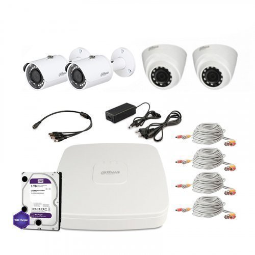 HDCVI комплект видеонаблюдения Dahua CVI-1M-4COMBI-Lite-Full