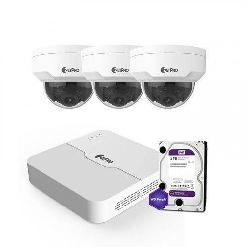 IP комплект видеонаблюдения ZetPro IP-4M-3DOME-Pro