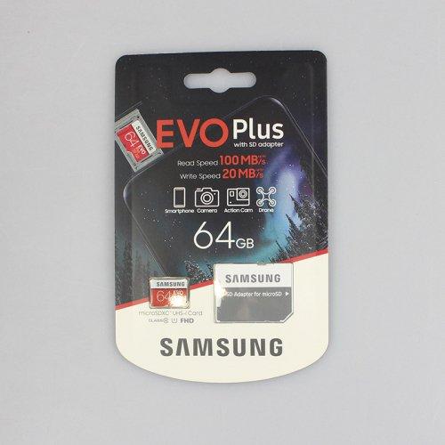 Карта памяти Samsung 64GB microSDXC C10 UHS-I U1 R100/W20MB/s Evo Plus V2