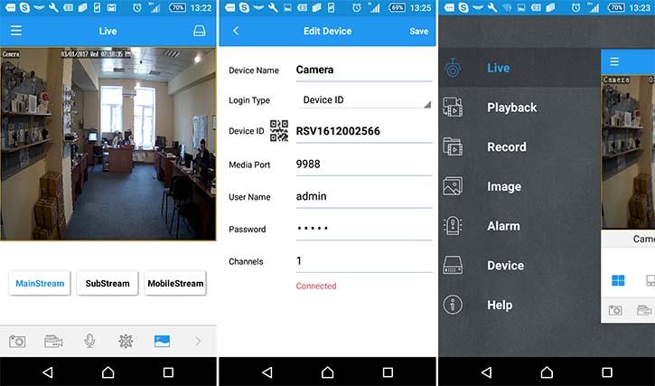 Мобильное приложение для IP камеры NADZOR RS-CH292H3C-S-36P
